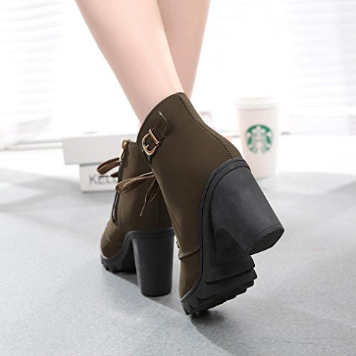 Ladies Buckle Platform Army up Shoes Green Lace Boots Ankle Womens High Fashion Heel XILALU 8ApqnC