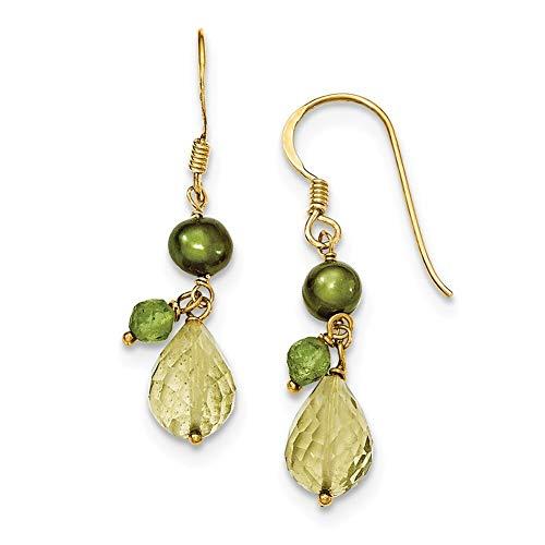 (Lex & Lu Sterling Silver & Vermeil Crystal/Green FWC Pearl/Peridot Earrings-Prime)