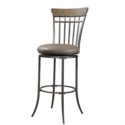 Hillsdale Furniture Charleston 46-Inch Vertical Spindle Back Swivel Bar Stool, Desert Tan (Charleston Swivel Ladder)