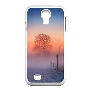 Samsung Galaxy S4 Case,Winter Scene Fog Glow Hard Shell Back Case for White Samsung Galaxy S4 Okaycosama498612