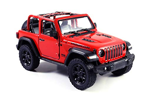 (HCK Jeep Wrangler Rubicon 4x4 Convertible Off Road Exploration Diecast Model Toy Car Red)