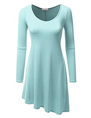 JJ Perfection Women's Casual Long Sleeve Loose Fit Tunic Dress