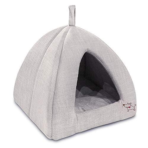 Best Pet Supplies Linen Tent Bed for Pets - Beige - X-Large