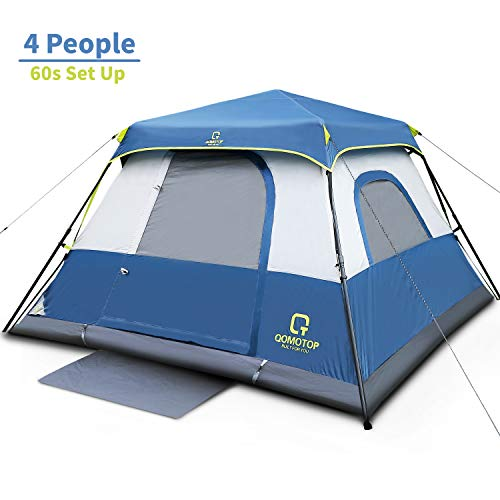 OT QOMOTOP Cabin Tent, Camping Tent 4 People with Instant Fast 60 Seconds Easy Set Up, Provide Top Rainfly, Waterproof Tent Advanced Venting Design, with Electrical Cord Access Port and Gate Mat, Blue