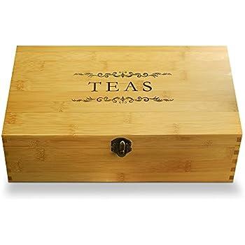 Amazon Com Oceanstar Bamboo Tea Box Natural Tea Storage