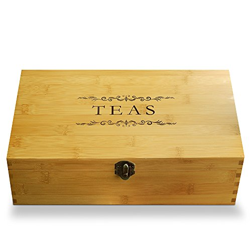Multikeep Adjustable Tea Box 128 Tea Bag Storage Organizer Bamboo Latching Lid (Tea Filigree)