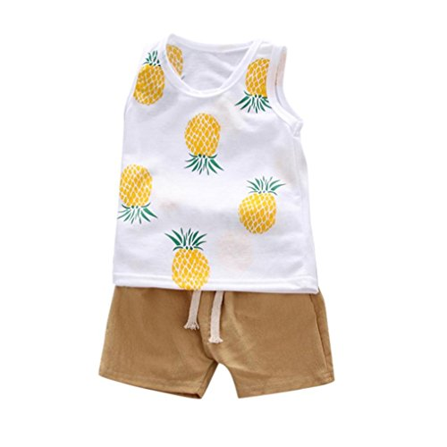 SMALLE◕‿◕ Children Kid Boys Girls Pineapple Print Vest Tops+Pants Clothes Outfits Set ()