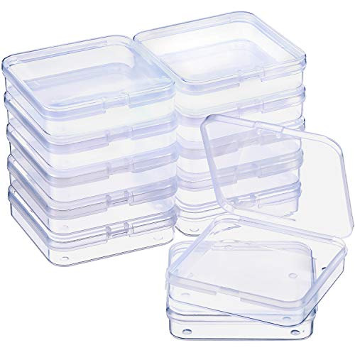 SATINIOR 12 Pack Clear Plastic Beads Storage Containers Box with Hinged Lid for Beads and More (2.75 x 2.75 x 0.67 Inch)