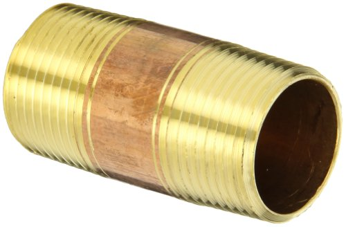 Anderson Metals 38300 Lead Free Red Brass Pipe Fitting, Nipple, 1 x 1 NPT Male, 2-1/2 Length