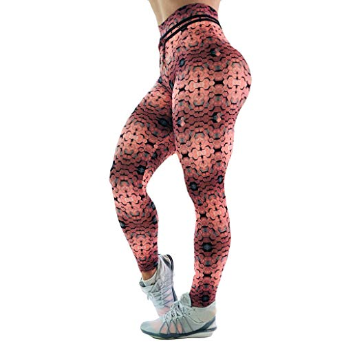 FKSESG Women Leggings Women's Polygonal Printed Hip-up Yoga Pants Fitness Pants Brown