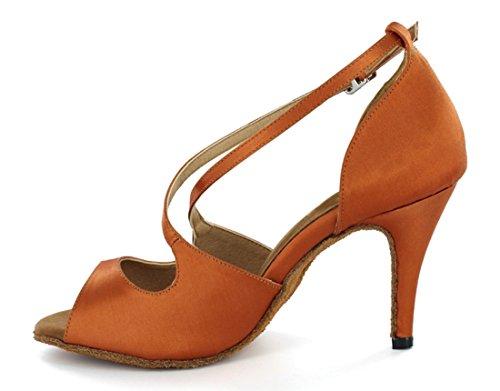 TDA Womens Peep Toe Stiletto High Heel Buckle Salsa Tango Ballroom Latin Modern Dance Wedding Shoes Satin Brown QYeycdiSL7