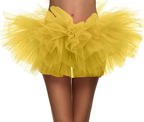 Women's Vintage 5-layered Run Walk Little Princess Dash Event Tutu Skirt, Yellow -