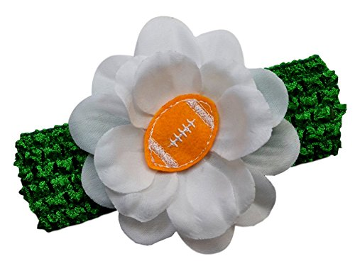 Baby Embroidered Felt Football Flower Headband (Kelly Green Band/Gold Ball)