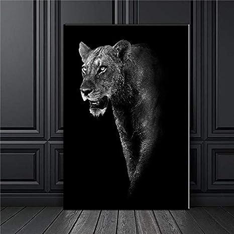 León Blanco Negro Elefante Leopardos Caballo 3D Pared Arte Lienzo ...