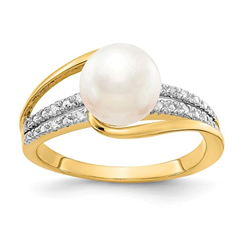 Ring Pearl Ladies 14kt Gold (ICE CARATS 14kt Yellow Gold Diamond Freshwater Cultured Pearl Band Ring Size 7.00 Fine Jewelry Ideal Gifts For Women Gift Set From Heart)