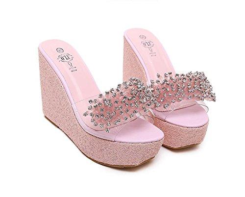 Heel de sandalias Wedge de plataforma Zapatillas LvYuan fondo Casual talón alto Confort rhinestones impermeable Pink mujeres verano grueso las Moda 4qvx5U