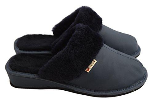 Casa Fur Piel Para De Mujer Azul Zapatillas Sheepskin Marrón Por Marino Estar Natleat Slippers 89 txvTzzq8