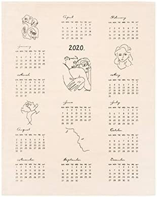 2020 Home Office Vintage-Kalender Cafe-Wand-dekoratives Rustic Ornament DIY Baumwolle Zusammenfassung Druck Calenda Foto Background Cloth (Color : As Show)