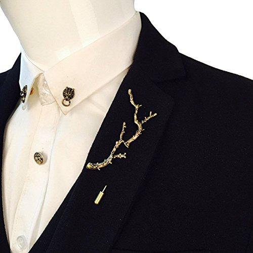 Large Pin Brooch - Vintage Korean Style Large Branch Stick Lapel Pin Men Suit Brooch