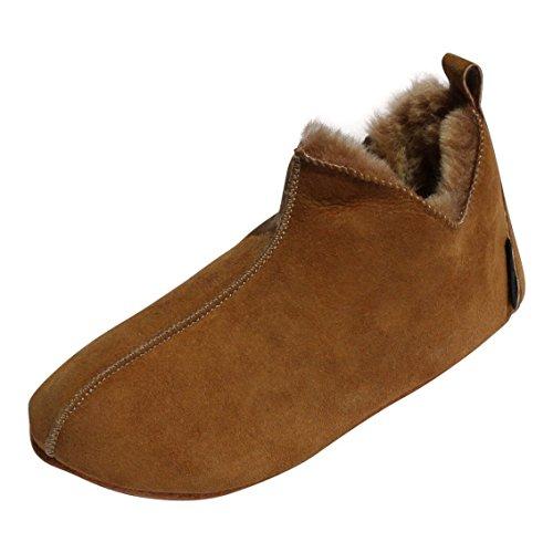Hollert German Leather Fashion Lammfell Hausschuhe - Bali Fellschuhe Hüttenschuhe Slipper Schaffell Echtleder Damen Herren Cognac