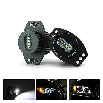 ZXREEK 20W LED Ojos de ángel Bombilla Faros Faros delanteros Halo Ring 6500K Xenon White Luz de circulación diurna para 3 Series E90 E91 LCI 63117161444: ...
