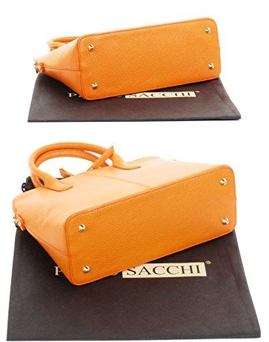 de cuir Made texturé un Comprend à rangement bowling en de de sac sac Hand italienne Primo à main marque bandoulière Sacchi sac Orange protection de Grab style cabas ou qHBRYIt