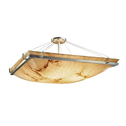 Justice Design Group FAL-9781-25-NCKL LumenAria Collection Square Semi-Flush Bowl with Ring, 18