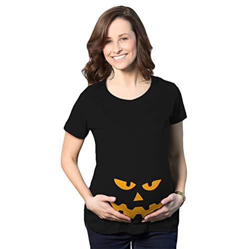 Maternity Triangle Nose Pumpkin Face Halloween Pregnancy Announcement T Shirt (Black) - M
