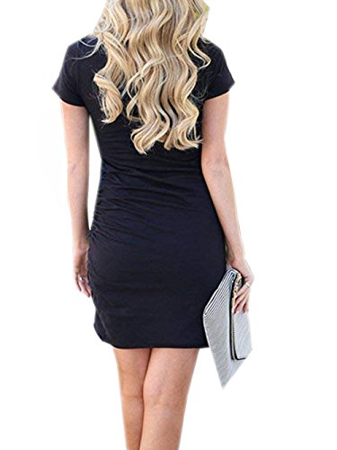 Short Casual Bodycon Dress Solid Navy Voopptaw Irregular Summer Womens Blue Dress Mini Color Sleeve tqwScBIAw