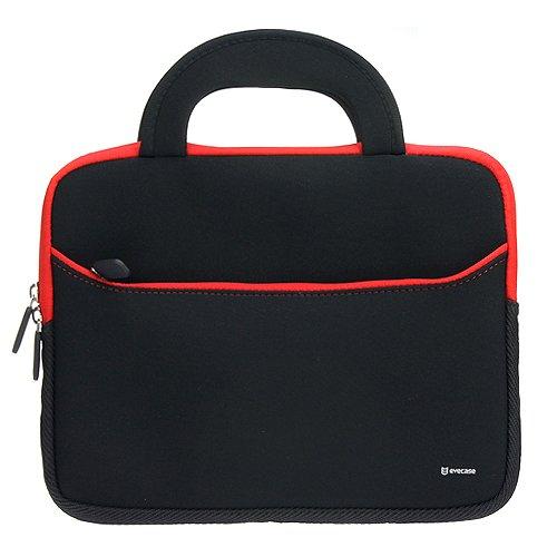 Evecase étui en néoprène avec poignée (265x200x20mm) - Noir et Rouge pour tablette 8.9 à 10.1 pouces Pour iPad Air, iPad Pro, Samsung Galaxy Tab 4 10.1