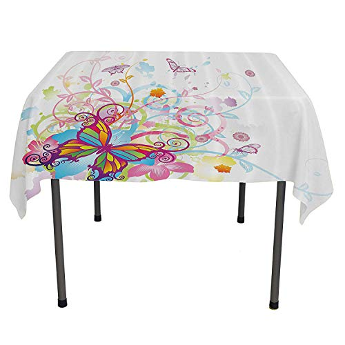 Butterflies Decorations Collection Clear Tablecloth Butterfly with Floral Elements and Leaves Stylized Curvy Branches Ornament Print Tablecloth for Picnic Tables Spring/Summer/Party/Picnic 36 by 36