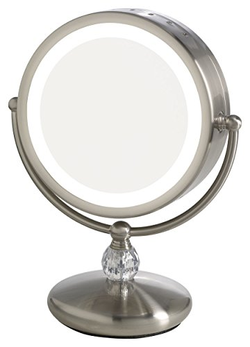 Elizabeth Arden 1x/10X Magnification Lighted Makeup Vanity Counter-Top Mirror w/ Touch Screen Control and Adjustable 360-Degree Rotation