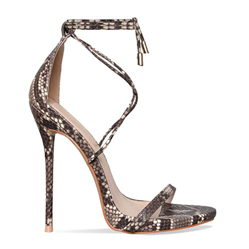 Beige Snake Lace up Stiletto High Heel Sandals US7 ()