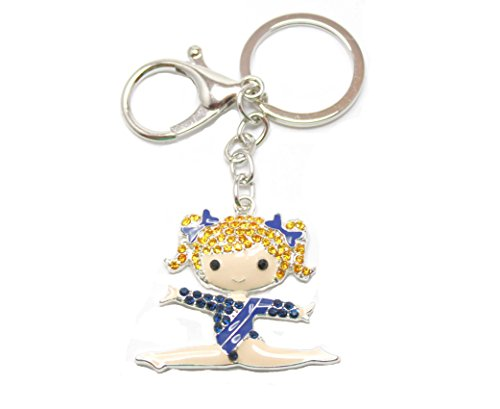 Enamel Ballerina Charm - Cute BALLERINA Key Chain is Enamel & Embellished in Yellow,Brown,& Blue Crystal Rhinestones.Perfect Gift for a Recital, Ballerina, or Dance Mom.