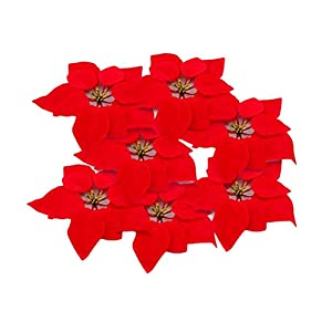 HMILYDYK 20PCS Xmas Tree Ornaments 8 INCH Red Poinsettia Flowers Festival Decor Artificial Flowers 11