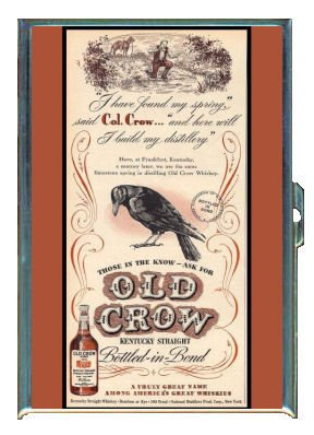Old Crow Kentucky Whiskey Vintage Ad Double-Sided Cigarette Case, ID Holder, Wallet with RFID Theft (Old Cigarette Holders)