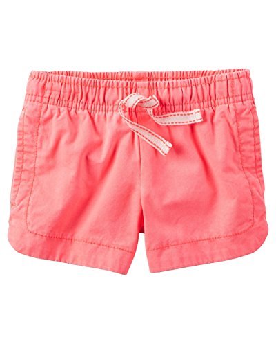 Dyed Twill Short - Carter's Baby Girls' Garment-Dyed Twill Pull-On Shorts, 12 Months Pink