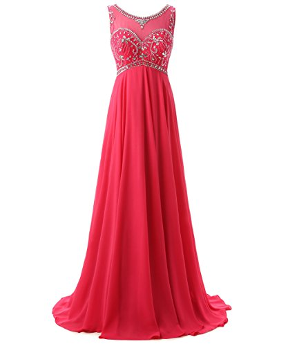 Callmelady Sheer Neck Beading Chiffon Long Prom Dresses 2017 Evening Gowns (Fuchsia, US18W)