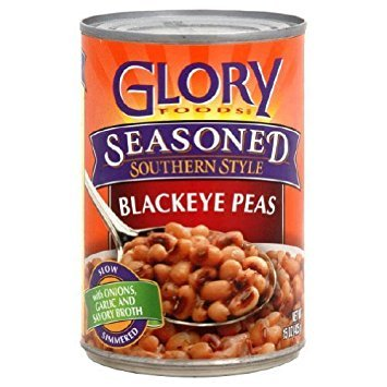 Glory Foods, Seasoned, Blackeye Peas, 15oz Can (Pack of 6)
