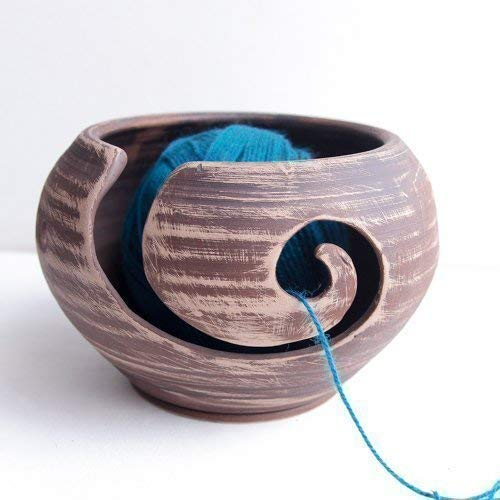 Knitting Yarn Bowl for Crochet Ceramic 7 x 4 inch - Home Knitting Needlework Storage Crochet Organizer Yarn Holder