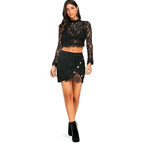 Dt Boutonne Jupe Jupe Mini Dentalle Mini Femme Couleur Sexy Uni Noir de q011nwvX