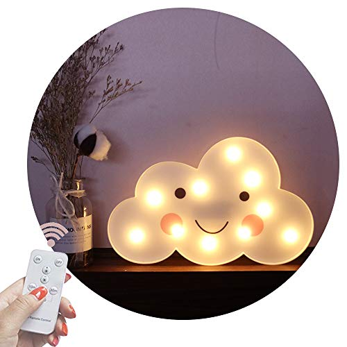 - Obrecis Light Up Cloud Marquee Sign, Remote Control Cloud Marquee Light White Printed Cloud Lamp for Bedroom, Nursery Room, Child Kids Girls Decor (White Smile Cloud)
