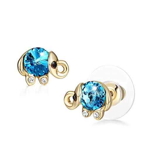 (CRYSLOVE Cute Elephant Stud Earrings Women 925 Sterling Silver Crystal Animal Shape Jewelry Elephant Earrings,Stud Ear,Gift Boxed)