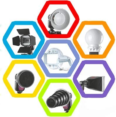 Universal Adapter Mount//Barndoor//Snoot//Honeycomb//Standard Reflector//Honeycomb for Soft-Reflector//Diffuser Ball//Color Gel//Softbox Durable JINGZ Falcon Eyes SG-100 Speedlite Accessories-kit