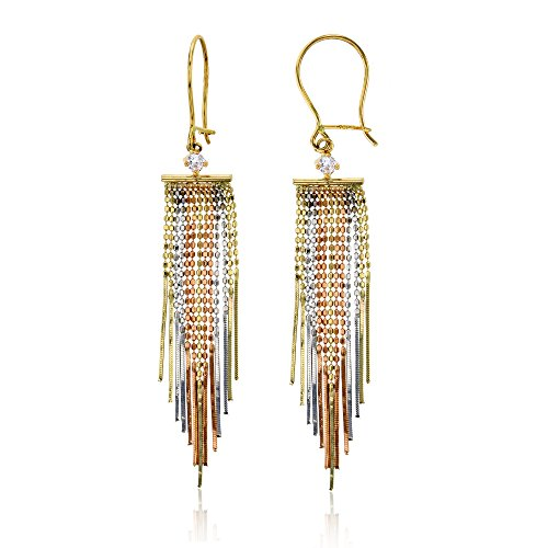14K Tri-color Gold Diamond Cut Bead Chandelier Dangling Earring by Decadence