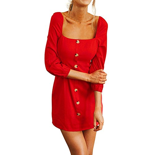 Veils Wedding Discount (HITRAS 2018 Women Sexy Elegant Camisole Long Sleeve Square Neck Mini Dress Button Dress (XL, Red))