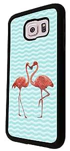347 - Cool Fun Love Flamingo Design For Samsung Galaxy S6 Egde Fashion Trend CASE Back COVER Plastic&Thin Metal