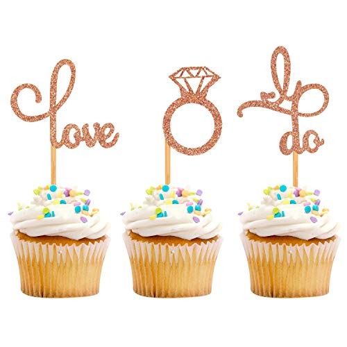 iMagitek 30 Pack Rose Gold Dimond Ring Love I Do Cupcake Toppers for Bridal Shower, Wedding, Hen Party, Engagement