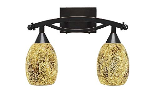 Toltec Lighting 172-BC-4175 Bow - Two Light Bath Bar, Black Copper Finish with Gold Fusion Glass