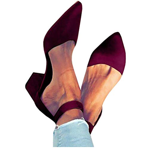 Womens Heeled Ankle Buckle Block Pointed Toe Cut Out Pumps -